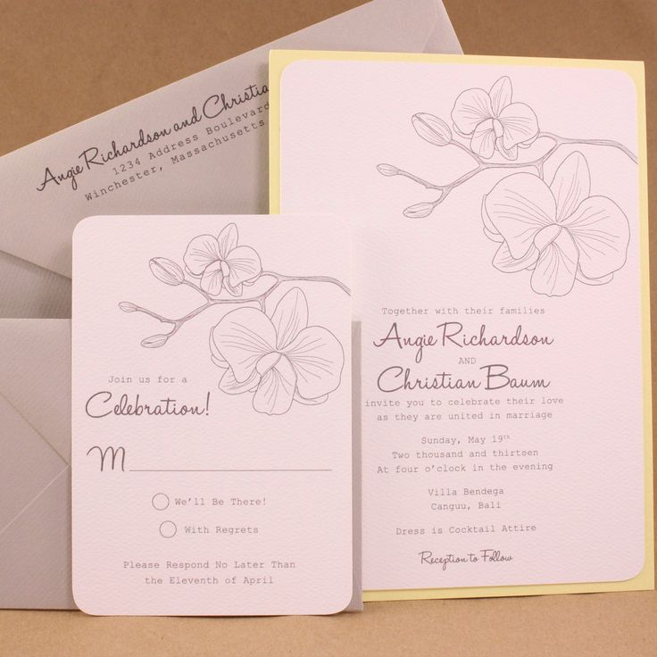 Elegant orchids layered wedding invitation by chikpeadesigns