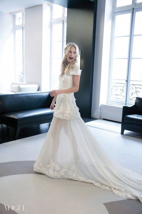 Poppy Delevingne in Chanel wedding dress by Karl Lagerfeld