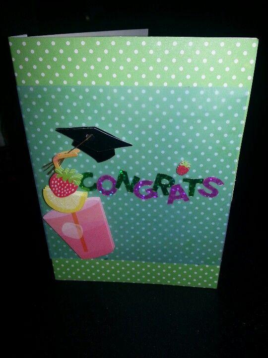 Cute green polka dots grad card