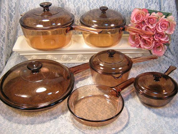Corning Ware Pyrex Visions Brown Glass Cookware 11 Piece Set