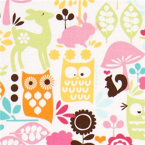 Michael Miller fabric forest life with owl deer rabbit  white fabric from the USA with colourful owls and forest animals