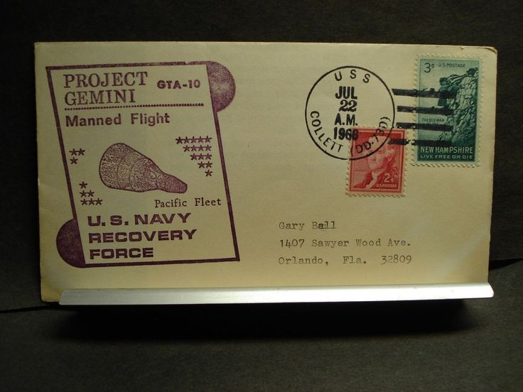 USS COLLETT DD-730 Naval Cover 1966 PROJECT GEMINI GTA-10 Cachet SPACE RECOVERY