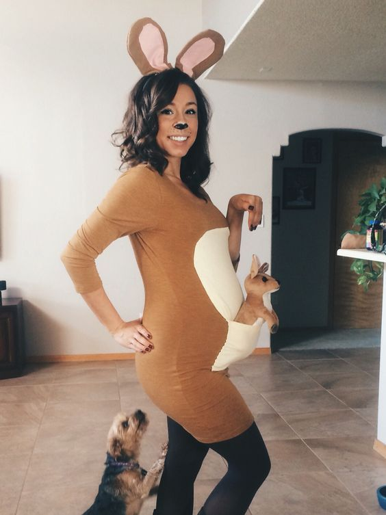 Mama Kangaroo carrying her baby kangaroo in her pouch: halloween pregnancy announcement idea