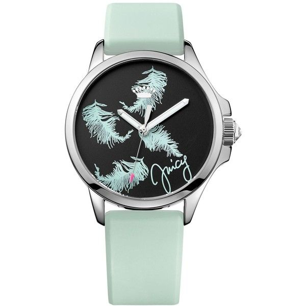 Juicy Couture Women's Jetsetter Blue Silicone Strap Watch 38mm 1901340 ($135) ❤ liked on Polyvore featuring jewelry, watches, blue, juicy couture, feather jewelry, juicy couture watches, juicy couture jewellery and blue watches