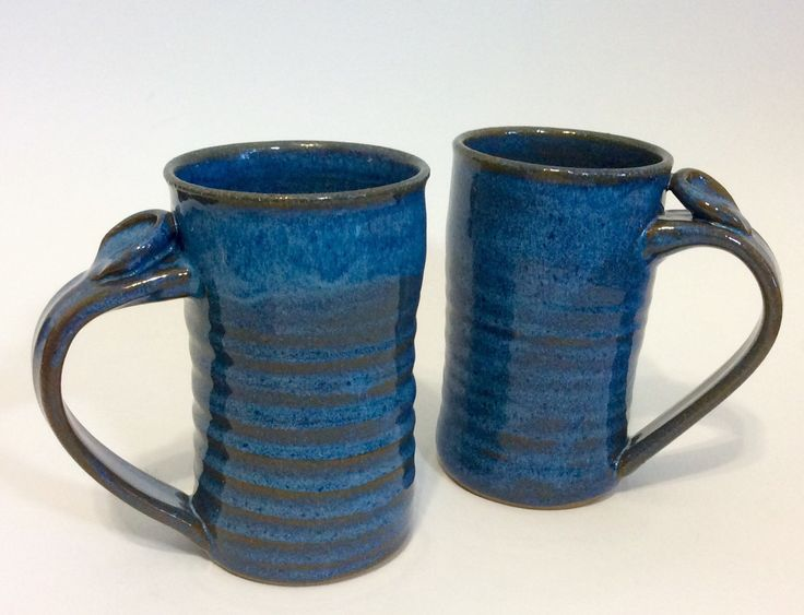 Extra Large Coffee Mug, Tall Ceramic Mug, Stoneware Pottery Tankard with Thumb Rest, Blue by LaurenBauschOriginal on Etsy https://www.etsy.com/listing/153749765/extra-large-coffee-mug-tall-ceramic-mug