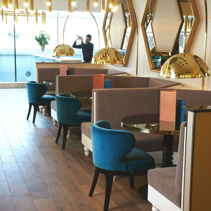 Chandelier And Giant Floor Lamps In Polished Brass Fourth Caf Harvey Nichols Leeds Interior Design Shaun Clarkson ID