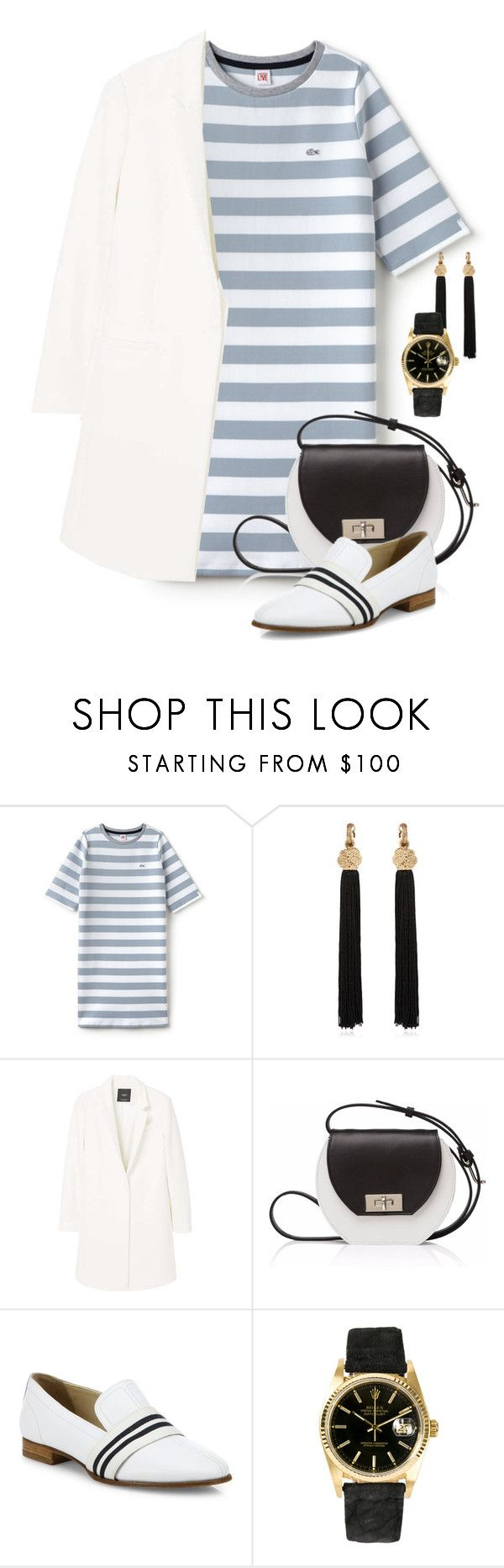"""""""Another favourite stripped dress"""" by no-where-girl ❤ liked on Polyvore featuring Lacoste L!VE, Yves Saint Laurent, MANGO, Joanna Maxham, rag & bone, Rolex and WearIt"""