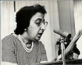 Naziha Dulaimi (1923-2007) was an early pioneer of the Iraqi feminist movement. the first woman minister in Iraq's modern history, and the first woman cabinet minister in the Arab world.  Dr. Naziha attended and graduated from the Royal College of Medicine at the University of Baghdad in 1948, and in that same year she became a full and instrumental member of the Iraqi Communist Party. In 1952, al Dulaimi cofounded the Iraqi Women's League and become its first president.