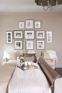 Family Wall Gallery of Black and Whites_City: Schofield Residence - traditional - bedroom - Linda McDougald Design | Postcard from Paris Home