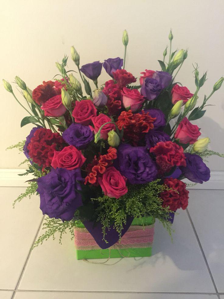 Pink roses, Lisianthus & Celosia medium box arrangement