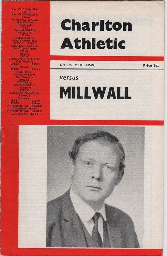 Vintage Football (soccer) Programme - Charlton Athletic v Millwall, 1966/67 season, by DakotabooVintage