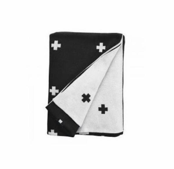 Cross Cot Blanket by Jamie Kay - Black
