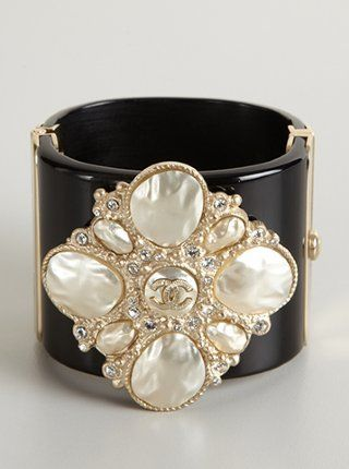 #Chanel black faux pearl floral wide cuff