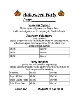 classroom party sign up sheets in 2018 classroom halloween party
