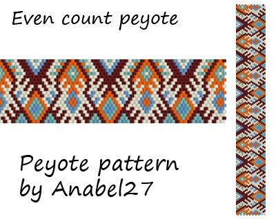 Patterns made with size 11/0 Miyuki Delica seed beads  Width: 1.06 (20 columns)  Length: 7.61 Technique: Even Count Peyote  Colors: 5      Patterns