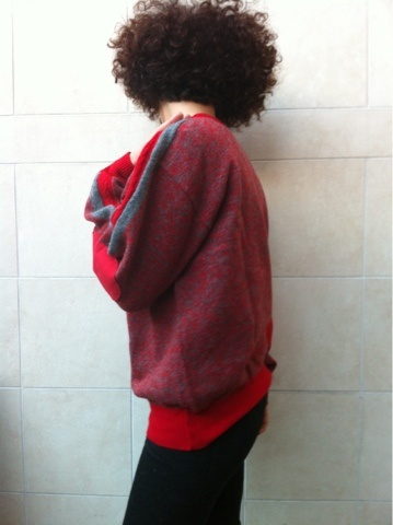Red Wool Sweater | vintage afro picks