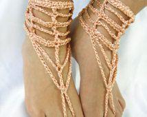 Pies sandalias pies descalzos, zapatos de boda, joyas, melocotón boda sandalias pies descalzos, botas de verano, sandalias Descalzas cadena de ZAPrix de ganchillo
