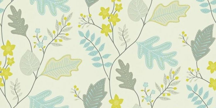 Lacarno (110299) - Harlequin Wallpapers - A contemporary stylized leaf trail design. Showing in shades of blue, green and grey on a off white background - other colour ways available. Please request a sample for true colour match. Paste-the-wall product.