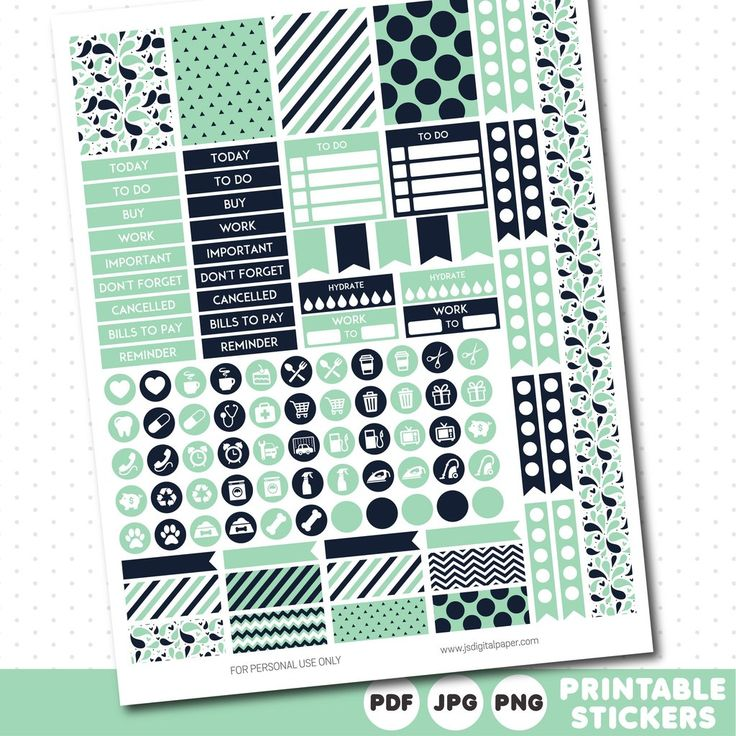 Mint green weekly planner stickers with headers, full boxes, half boxes…