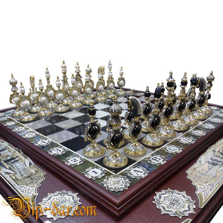 """Стол шахмтаный элитный """"Шахматный стратег"""" - четыре империи, дорогой шахматный стол с доской из камня."""