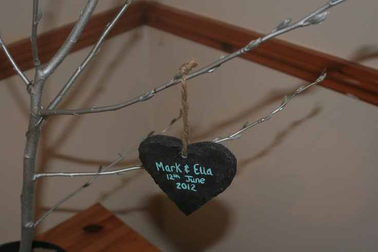 Wedding Favour - Keepsake Slate heart- painted, can be hung from centrepiece