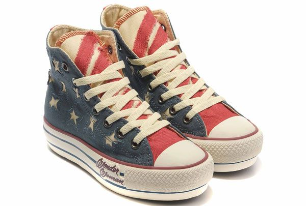 Lowest price Limited Edition Plate-forme de drapeau américain Converse All Star High Top Bleu Rag Toile langue rouge Chaussures Outlet Online