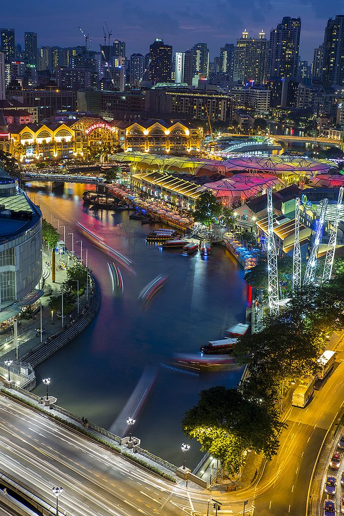 Clarke Quay at Dusk, Singapore My absolute favorite place in Singapore!