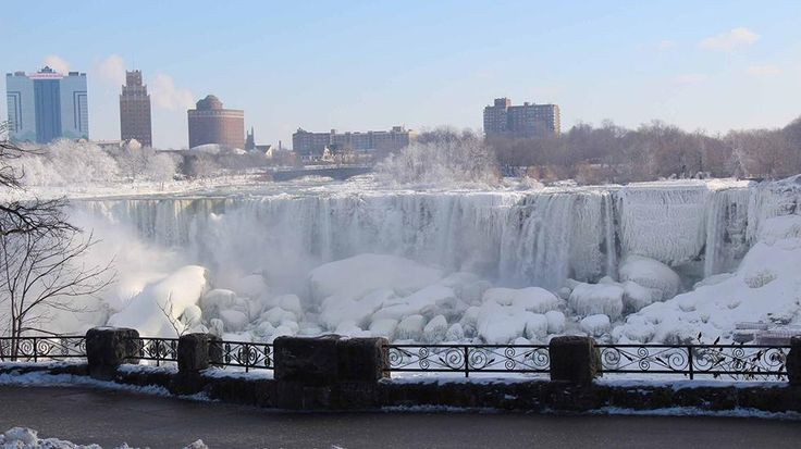 A view of the Niagara Falls frozen over due to the extreme cold weather, Ontario, Canada, Jan. 9, 2014. The Arctic blast brought record cold...