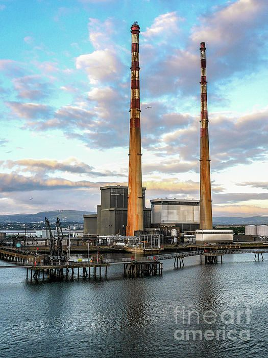 Dublins Poolbeg Chimneys. Portrait. Visit my photo gallery and get a beautiful Fine Art Print, Canvas Print, Metal or Acrylic Print OR Home Decor products. 30 days money back guarantee on every purchase so don't hesitate to add some Irish Magic in your home or office.