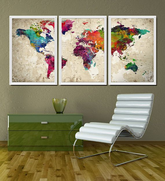 World map push pin Push pin extra large art World by FineArtCenter