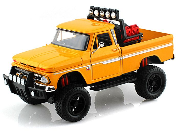1966 chevy c10 fleetside pickup off road 1 24 yellow diecast model cars pinterest models. Black Bedroom Furniture Sets. Home Design Ideas