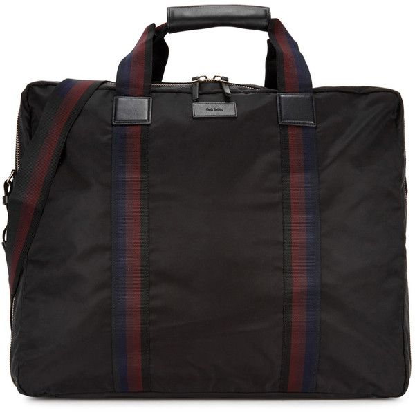Paul Smith Black Suit-carrier Holdall ($720) ❤ liked on Polyvore featuring men's fashion, men's bags, paul smith mens bag, mens leather bag and mens holdall bag