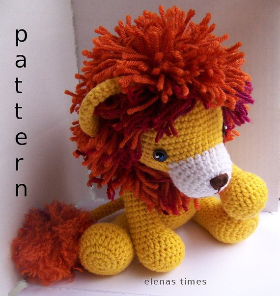 Diy Amigurumi Animals : Instant Download Crochet Pattern-Baby Lion-Toy Lion ...