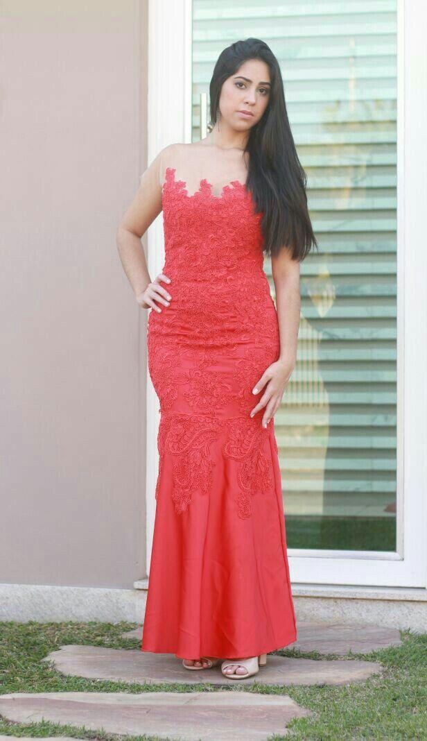 Vestido sereia vermelho