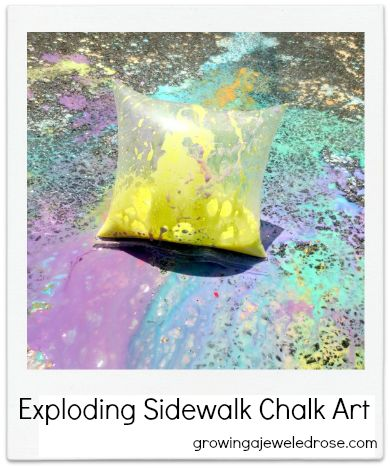 Exploding Sidewalk Chalk Art  ***not as dramatic as I expected...more of a PFFFT than a POP!***