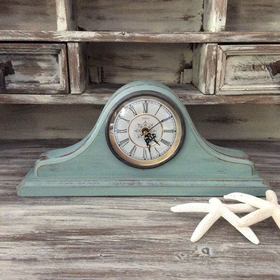Beach Cottage Blue MANTLE CLOCK For Sale Wood Desk by shabbyshores, $110.00 #shabbyshores #rustic #chic #timepiece #shabbychic #beachcottage