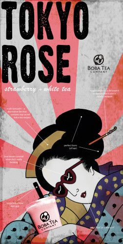 Boba Tea Company Poster Campaign (Kangaroo, Taro-Zen, Razilla, King Kona, Kimono, Tokyo Rose) Designer: Robert E. Goldie