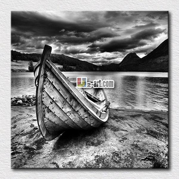 Белый и черный p [ ть изображение живопись судно масляной живописи современного морского отпечатки на холсте стены искусства для украшения дома / 24 '' x 24 ''
