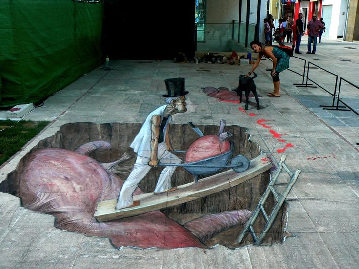 I just love these sidewalk art drawings....so amazing.  Right out of Mary Poppins.