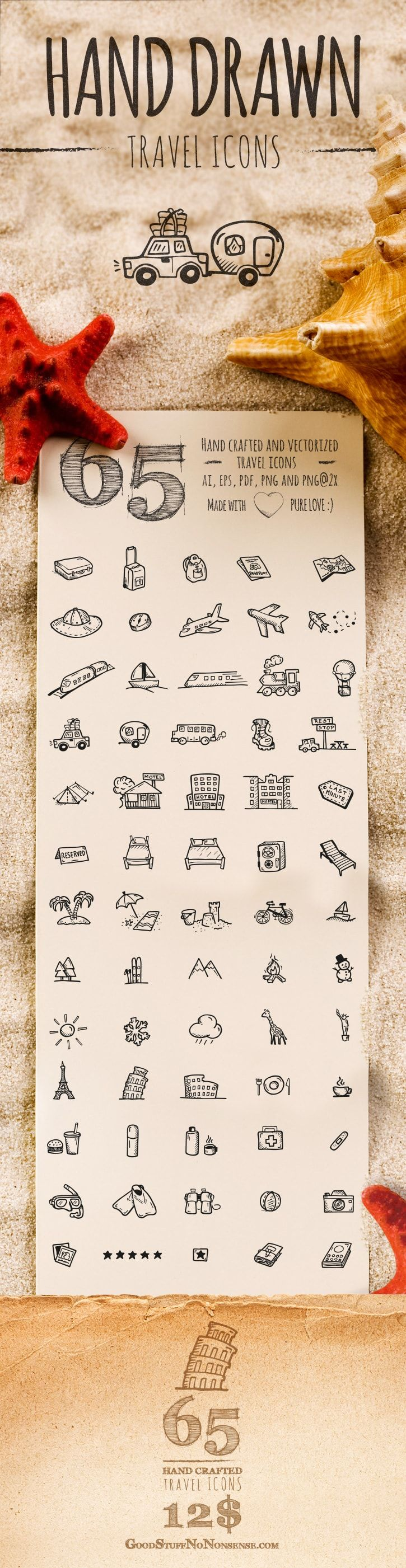 Travel Icons Clipart – 65 Cute Hand Drawn Illustrations – Vector Download