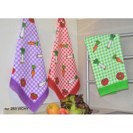 Paño de cocina Vichy. Paños de cocina estampados. Rizo de algodón 100% Colores: Lila, Rojo y Verde.
