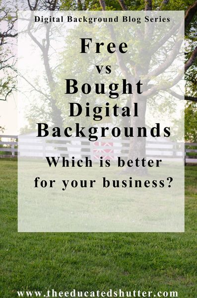 Digital Backgrounds can be a huge asset for your photography business. Want to know the differences between a free or bought digital background (beside the obvious}? Find out what type would work for you and your photography.