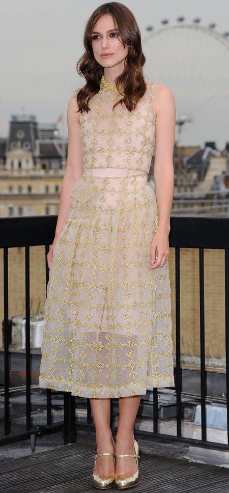 Keira Knightley wears Simone Rocha to promote her new film, Begin Again. www.handbag.com