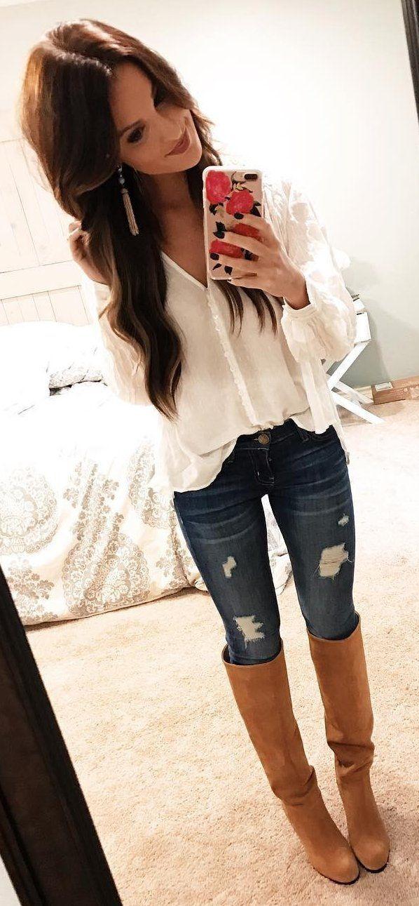 #winter #fashion /  White Shirt + Skinny Ripped Jeans