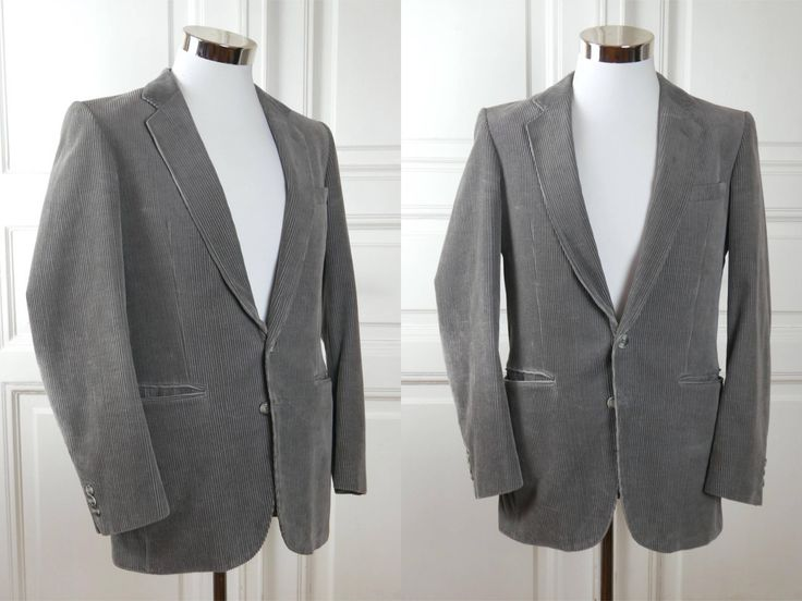 Finnish Vintage Men's Blazer, Silver Gray Single-Breasted European Corduroy Jacket w Notch Collar, Gray Cord Sport Coat: Size 38 US/UK by YouLookAmazing on Etsy