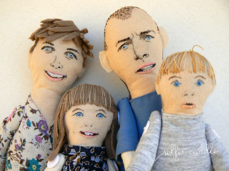 personalised handmade fabric doll, portrait doll, family doll, face detail