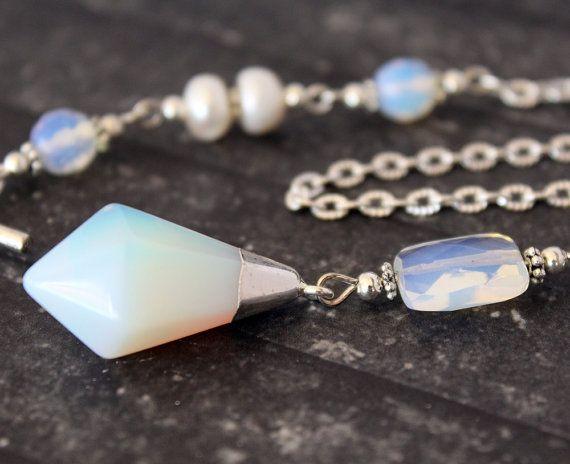Opalite Gemstone Pendulum Necklace  Scrying by RavenshiresRealm