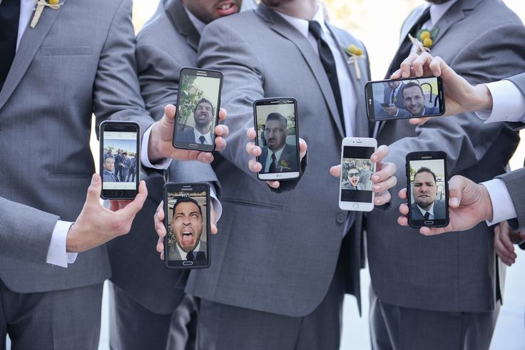 When your bridal party is all dressed and ready to go, it's inevitable that selfies will ensue. Compile them all with this clever idea! - shot for the boys