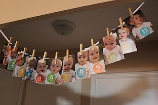 Clothes Line of Monthly Photos for First Birthday Party