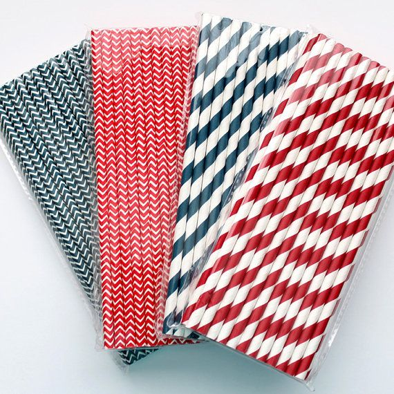 NAVY and RED Paper Straws 25 Count  by ThePrettyPartyShoppe, $4.00